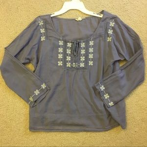American Eagle purple long sleeve top embroidered